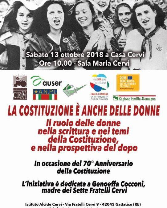 """Sabato 13 ottobre, ore 10: """"LA COSTITUZIONE È ANCHE DELLE DONNE"""" – Convegno AUSER-Istituto Cervi"""