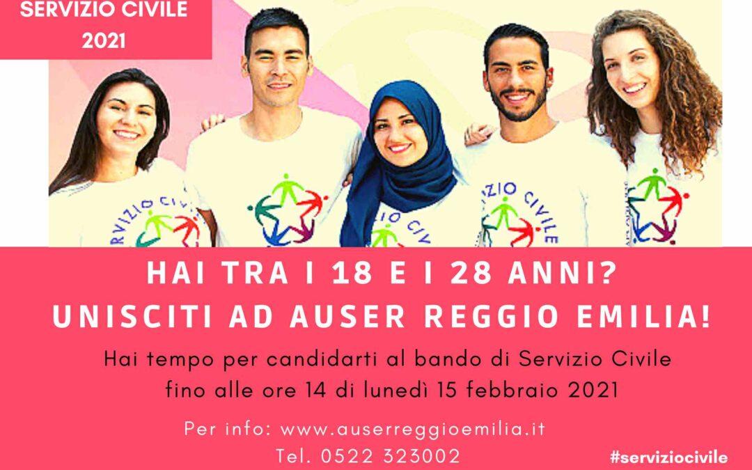 SERVIZIO CIVILE: Auser ricerca 4 giovani per la città di Reggio Emilia